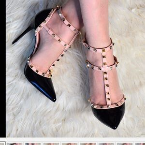 Pointed Toe Studded Stiletto Heels Tbar Strap